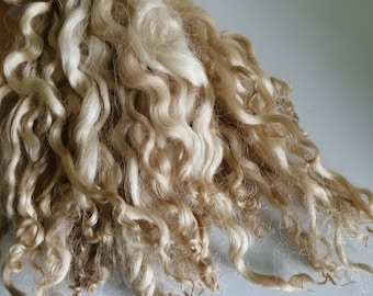 whitewater loose fibre ethically farmed pale brownsilver curly wool doll makingfelting hair 10g teeswater x white faced dartmoor
