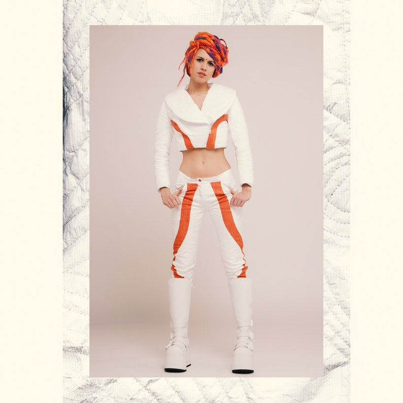 Psychedelic clothing Post apocalyptic Burning man costumes Psy Trance Astronaut White Pants Rave Clothing