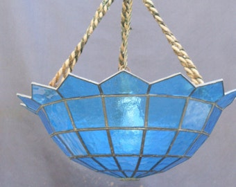 chandelier blue artistic glass mosaic tied with pond made in Italian, cord for hanging from ceiling, over hundred chandeliers in this store