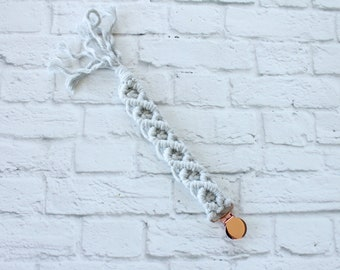 Macrame Soother Clip, Pacifier Clip, Paci Clip