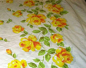 Vintage Bright White with Yellow Roses Full Flat Sheet 72x108