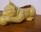 Vintage Cat and a Ball of String Planter Yellow Pottery Planter