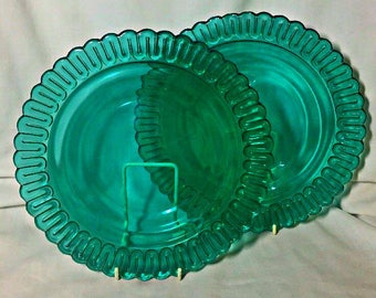 "Indiana Christmas Candy Glass  Teal  GREEN 9 5/8"" Lg DINNER PLATE"