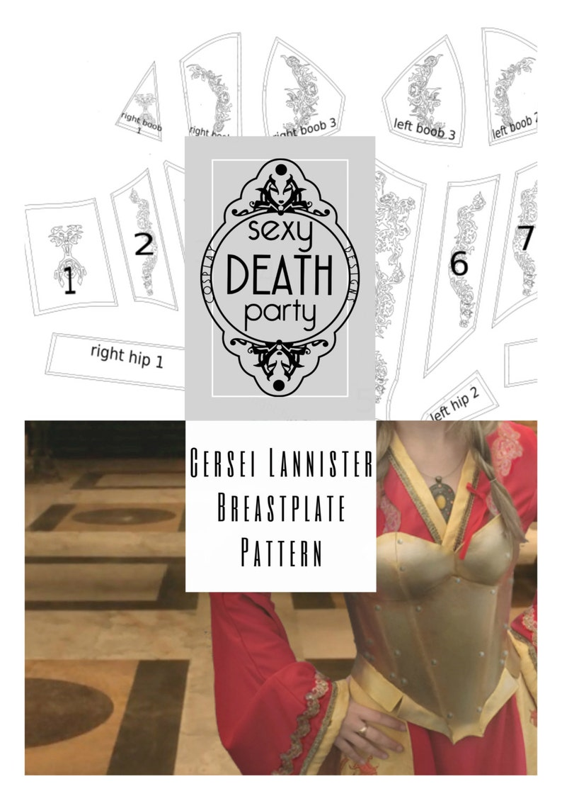 Cersei Lannister Breastplate Armor Pattern PDF download US image 0
