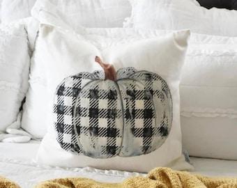 Fall Pillow Cover, plaid pumpkin, Fall plaid Decor, Fall pillow, pumpkin pillow, black and white plaid, buffalo plaid fall