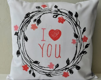 SALE, Valentines Pillow Cover, Valentines Decoration, 18x18 Pillow Cover, i love you