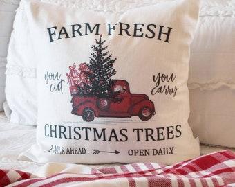 2d4163b198 Christmas pillow cover, Christmas, farm fresh tree, red truck, red truck  pillow, Christmas pillow