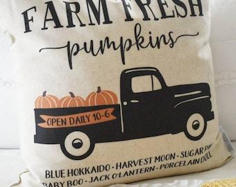SALE- Fall Pillow Cover, Pumpkin Patch, Fall Decor, Front porch pillow, fall pillow, pumpkin pillow, farm fresh punpkins