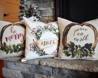 Christmas pillow cover, Merry Christmas Pillow, Christmas decor, Vintage Christmas, Be Merry, Noel, Peace on Earth