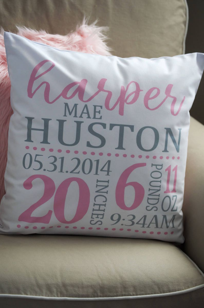 baby girl birth pillow Personalized birth pillow cover pink and gray birth pillow cover birth Announcement pillow cover
