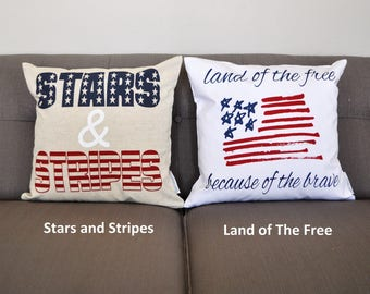 Patriotic pillow cover, Americana pillow cover, Memorial Day, Fourth of July, Summer pillow, USA Pillow