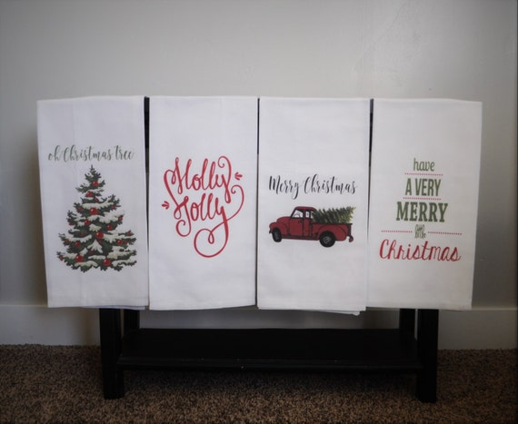 Kitchen towel, dish towel, tea towel, Christmas kitchen towels, Christmas  Decor, Neighbor Christmas Gift, Decor, FOUR STYLES
