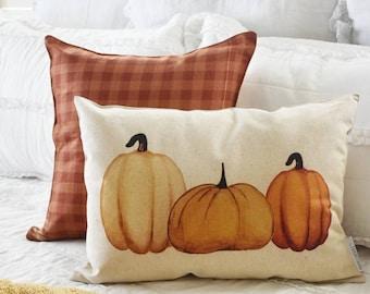 SALE-, Fall Pillow Cover, Pumpkin Patch, Fall Decor, Front porch pillow, 14x20, watercolor pumpkin, pumpkin pillow, fall pillow