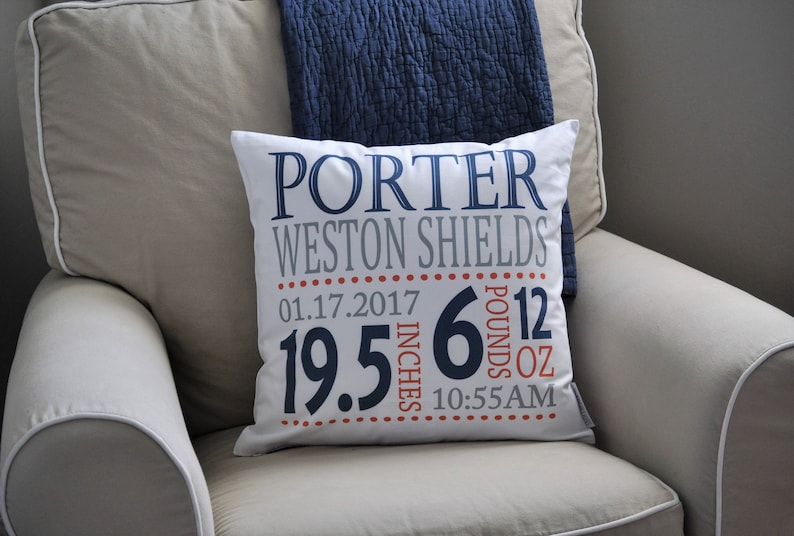 baby boy birth pillow birth Announcement pillow cover birth stats pillow Personalized birth pillow cover blue and orange