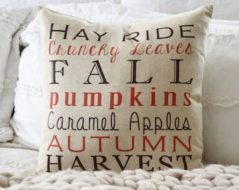 Fall Subway Art Pillow Cover- Subway Art -  Fall Decor - Fall pillow - autumn harvest - hay rides- SALE - great for Halloween & Thanksgiving