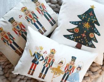 Nutcracker pillow cover, nutcracker decor, Christmas ballet, Christmas pillow cover, Christmas decor, Vintage Christmas,  Christmas pillow