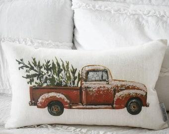 Christmas pillow cover, Christmas pillows, ted truck, Vintage christmas, Christmas truck, 12x20