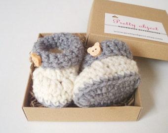 GENDER REVEAL Grandparent announcement Pregnancy reveal to grandparents Baby announcement  Baby booties box Crochet newborn booties