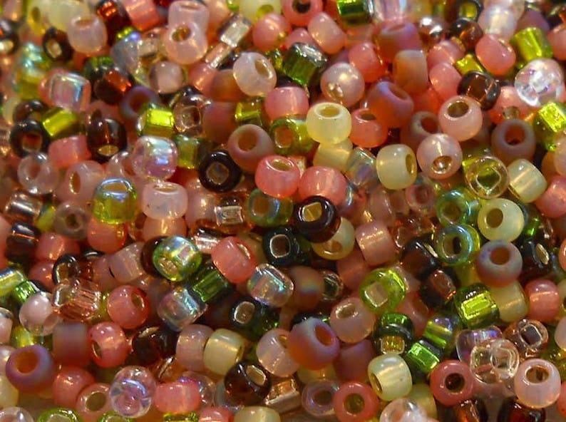 80 Miyuki and Toho Seed Bead Mix PinkGreenBrownSalmon 0090 25 grams