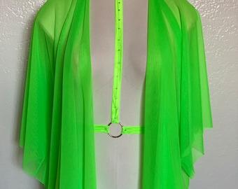 f063f60ac4 Neon Green Mesh short sleeve Kimono shawl | UV black light | power mesh |  lingerie | sexy | pool cover up | rave | festival | beach