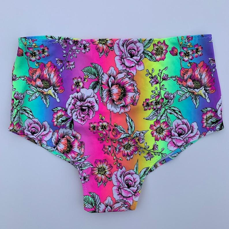 Dance wear edc rave wear swim bottoms UV black light ROSA Rainbow Rose High waist scrunch bottoms Neon colorful floral print
