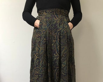 Vintage 90s abstract print autumnal pocketed maxi skirt hounds tooth floral kitsch patterned SM summer boho festival skirt Glasto Bestival