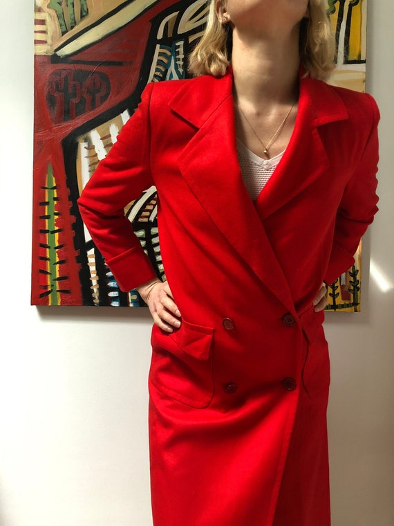 scarlet lipstick red crop cropped blazer classic retro suit top black lapels DAVID WARREN vintage 80s 1980s minimalist mod size womens SMALL