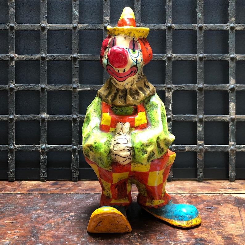 1970s Vintage Mid Century Papier M\u00e2ch\u00e9 Clown Signed Alvarez Mexico