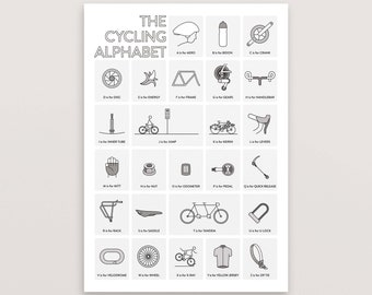 Cycling Poster – A to Z – Gift for Cyclist