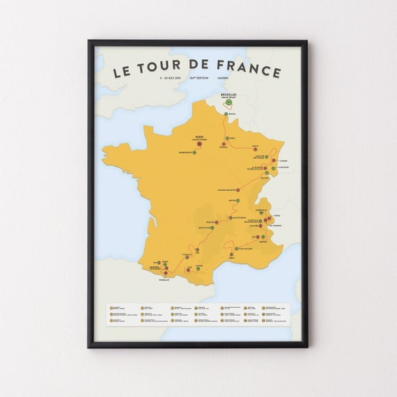 Tour De France 2020 Route Map Cycling Poster Gift Etsy