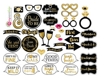41 funny bachelorette bridal shower photo booth props gold and black bridal shower instant download diy printable high res jpeg