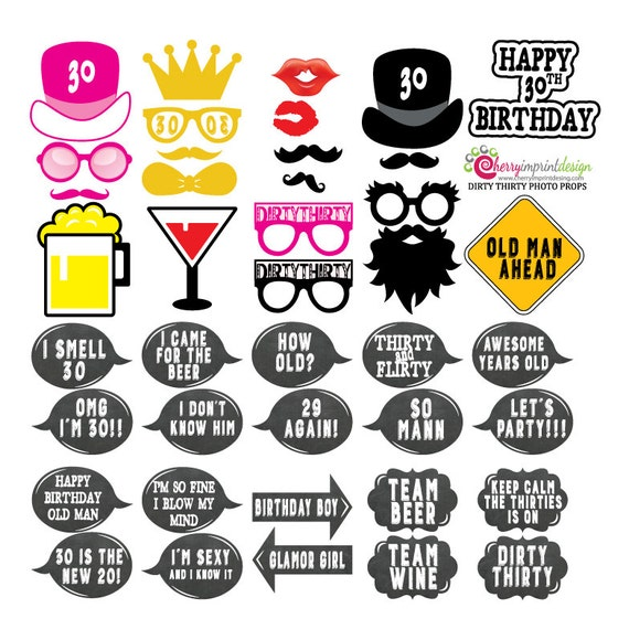 41 Hilarious Dirty Thirty Happy 30th Birthday Photo Booth | Etsy