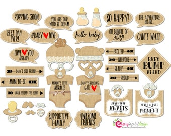 42 Rustic Baby Shower Photo Booth Props - Burlap Lace Baby Shower Props - INSTANT DOWNLOAD - DIY Printable (High-Res Jpeg)