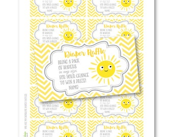 INSTANT DOWNLOAD - You Are My Sunshine Diaper Raffle - Chevron - Yellow DIY Printable (Digital File Jpeg and Pdf)