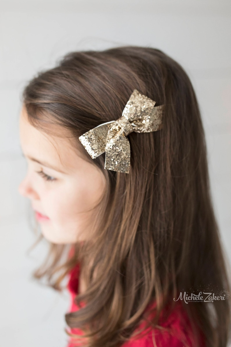 828a75b25877d Glitter Bows/Pigtail Bows/Baby Girl Bows/Girl Hair Accessories/Baby  headbands/ Gold Hair Bow/Girl Hair Bows/Birthday Bow/Leather Bows