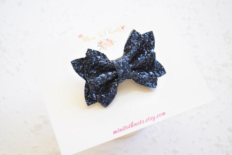 Navy Blue Glittery BowSparkly Blue Bow