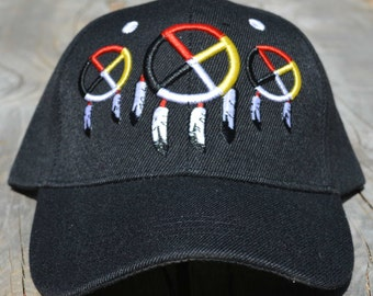 b3547900d93 Ball Cap with Native American Design featuring Three Medicine Wheels on  front