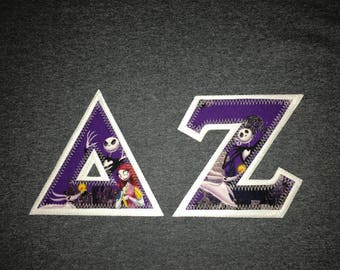 Nightmare Before Christmas Jack & Sally Greek Lettered Shirt Fraternity/Sorority Made to order