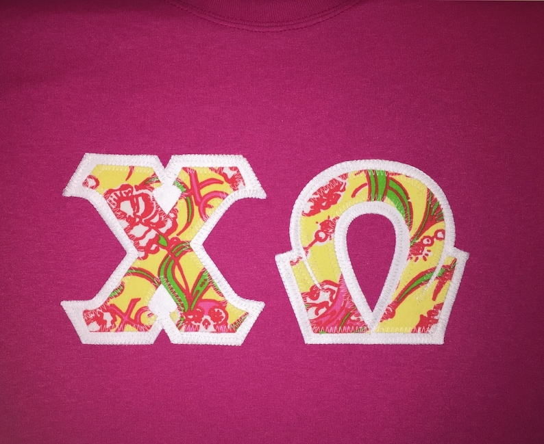 5d0730e9475ce1 Chi Omega Lilly Pulitzer Sorority Prints GREEK LETTERED T | Etsy