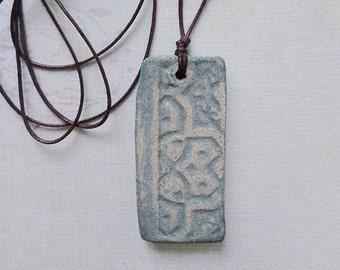 parallelogram Handmade ceramic necklace Spring Water