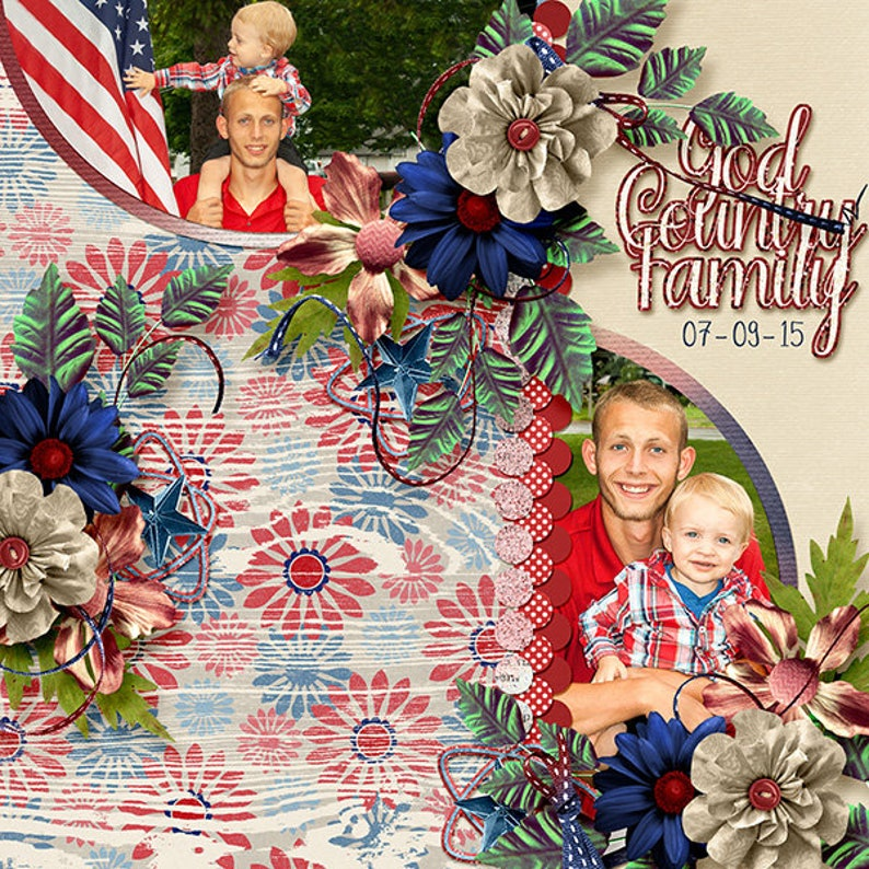July 2019 Mix n Match Just The Papers Pack Digital Scrapbooking 4th of July Paper