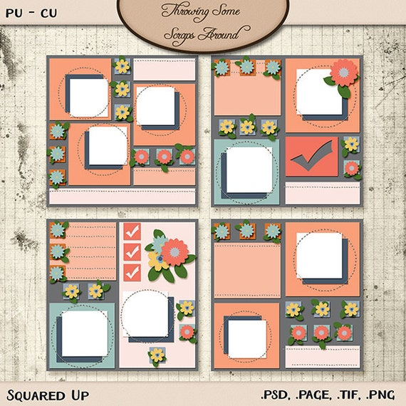 Digital scrapbooking layout templates squared up etsy image 0 maxwellsz