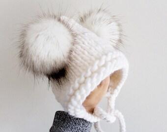 ac8ff5a98c63f Double Pom Pixie Bonnet in DIAMOND WHITE