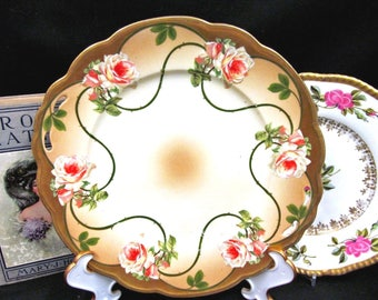 Made in Austria Painted Cabbage Roses Pink Plate Gold Gilt Work Raised