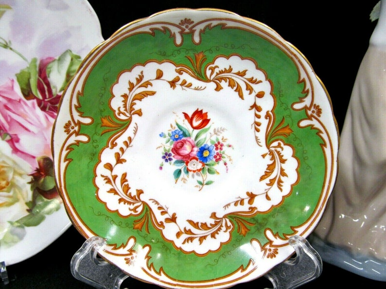 TUSCAN tea cup and saucer GREEN rose Blenheim pattern teacup flared