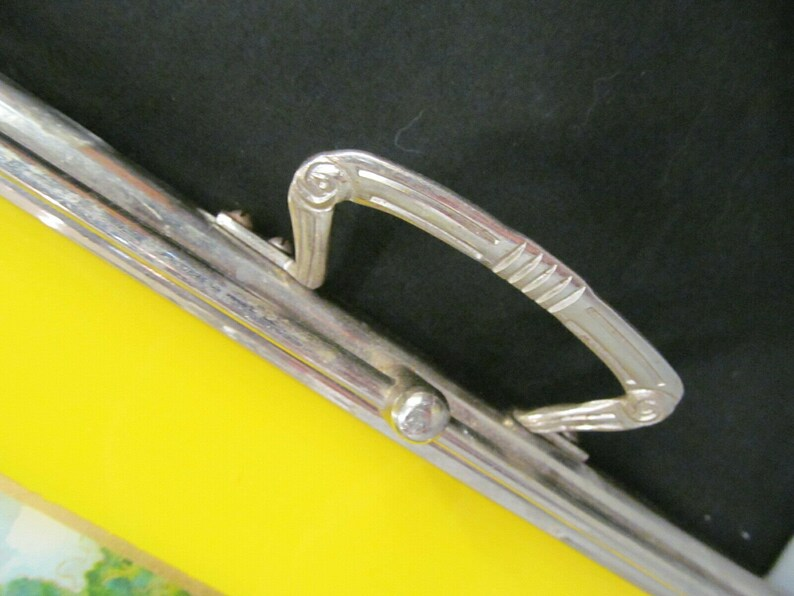 rare WEST GERMANY reverse glass painted lady crinoline pattern tray silvertone metal rose handles