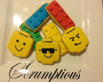 15  Iced Lego Men and Block Iced Cookies.