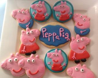 16 Peppa pig iced cookies platter.