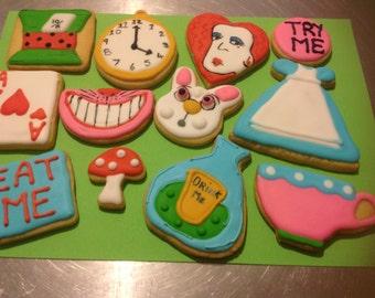16 Alice in Wonderland Iced Cookies.