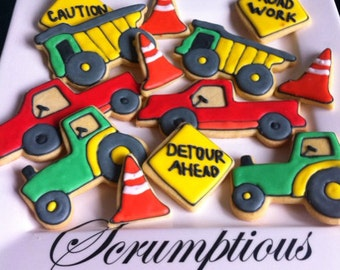 18 Construction iced cookies.
